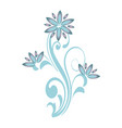 floral curve decorative ornaments blue flower vector image