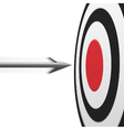 Flying arrow to the red center of round target vector image