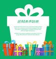 frame with gift boxes greeting card vector image vector image