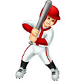 funny baseball player in white uniform cartoon vector image