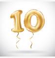 golden number 10 ten metallic balloon party vector image vector image