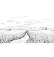 hand drawn field landscape corn farm sketch