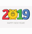 happy new year card with pig symbol vector image vector image