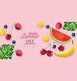 hello summer tropic fruits banner realistic vector image vector image