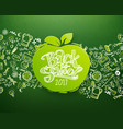 horizontal chalkboard with apple vector image vector image