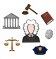 Law judge and justice icons vector image vector image