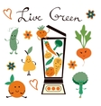 Live green Fruits and vegetables colorful vector image vector image
