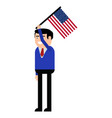 man holding the united states flag vector image vector image