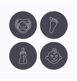 Pacifier baby boy and bottle icons vector image vector image