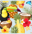 pattern with toucans and exotic fruits vector image