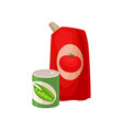 plastic pack of tomato ketchup and tin can of vector image vector image