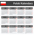 polish calendar for 2018 scheduler agenda or vector image