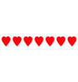 red heart icon set line border pattern love sign vector image vector image