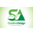 sa green leaf letter design logo eco bio leaf vector image vector image