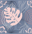 seamless pattern with leaves and flowers vector image