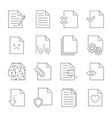 set document flow management line icons vector image