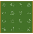 set of 16 editable animal doodles includes vector image vector image