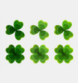 set of green leaves of clover realistic vector image vector image