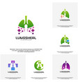 set of health lungs logo designs lungs with plus vector image vector image