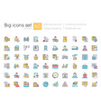 shipping and delivery blue rgb color icons set vector image