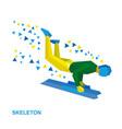 skeleton cartoon sportsman jump on sled bobsled vector image
