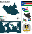 South Sudan map world vector image vector image