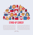 stand up comedy show concept in half circle vector image vector image