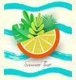 summer holiday banner - a bright orange slice with vector image