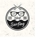 surfing black vintage round emblem with sunglasses vector image vector image