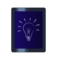 Symbol of the light bulb on the tablet computer vector image vector image