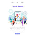 team work vertical banner with copy space vector image vector image