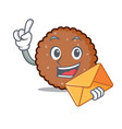 with envelope chocolate biscuit character cartoon vector image vector image