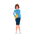 young teacher in strict work clothes with magazine vector image vector image