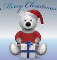 Teddy bear white red sweater red hat with present vector image