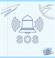alarm bell and sos lettering line sketch icon vector image vector image