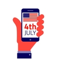 American Independence day Smartphone on hand vector image vector image