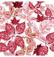 autumn pattern with realistic leaves in pink red vector image