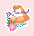 be powerful sticker with woman hand show muscles vector image