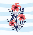 beauty nature flowers plants with leaves vector image vector image