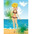 blonde on the beach relaxing vector image vector image
