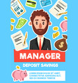 businessman manager profession poster vector image vector image