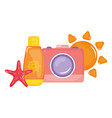 camera photographic with blocker solar bottle vector image vector image