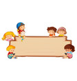 children on empty wooden board vector image vector image
