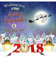 christmas vintage greeting card on winter village vector image vector image