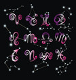 collection hand drawn zodiac signs vector image vector image