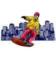 colored silhouette snowboarder design art vector image vector image