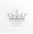 crown low poly wire frame on white background vector image