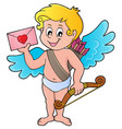 cupid with envelope theme image 1 vector image vector image