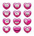 cute cartoon pink heart emoji set vector image vector image