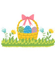 easter basket with eggs and flowers vector image